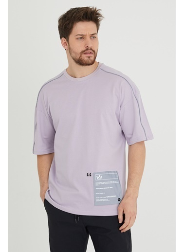 XHAN Lila Biye Detaylı Salaş T-Shirt 1Kxe1-44635-26 Lila